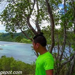 sand bar that bridges the two islands (Snake Island)