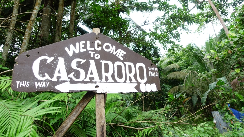 casaroro waterfall sign board