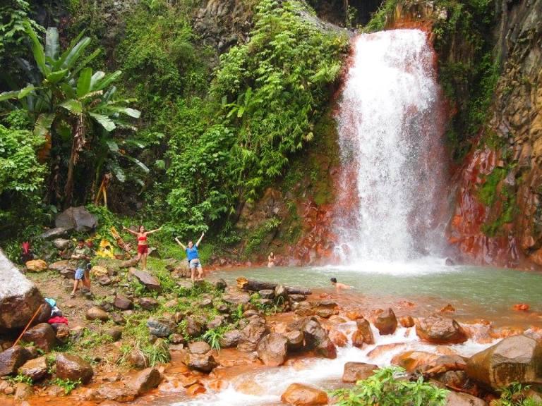 pulangbato waterfall rustic red rocks